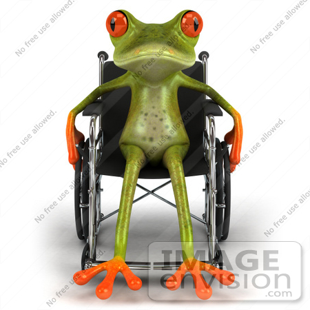 #49529 Royalty-Free (RF) Illustration Of A Handicap 3d Red Eyed Tree Frog Using A Wheelchair - Version 2 by Julos
