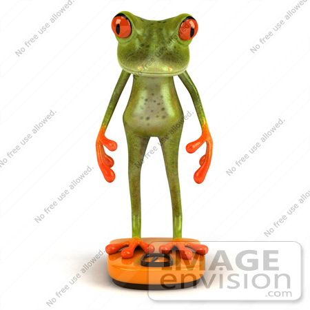#49530 Royalty-Free (RF) Illustration Of A 3d Red Eyed Tree Frog Standing On A Scale - Pose 1 by Julos
