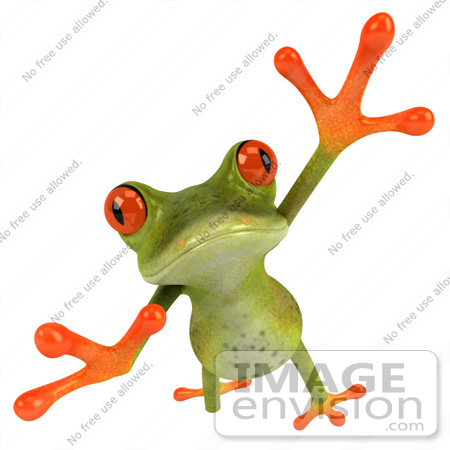 #49533 Royalty-Free (RF) Illustration Of A 3d Red Eyed Tree Frog Taking A Big Leap Forward by Julos