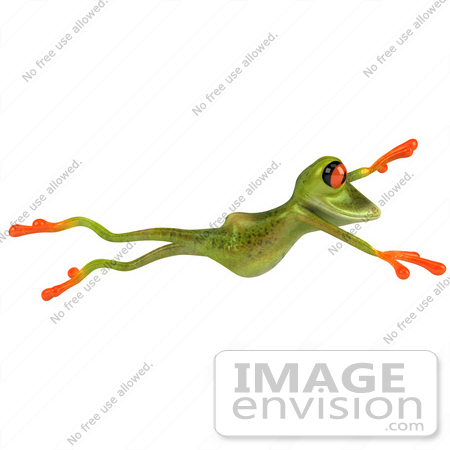#49534 Royalty-Free (RF) Illustration Of A 3d Red Eyed Tree Frog Taking A Large Leap by Julos