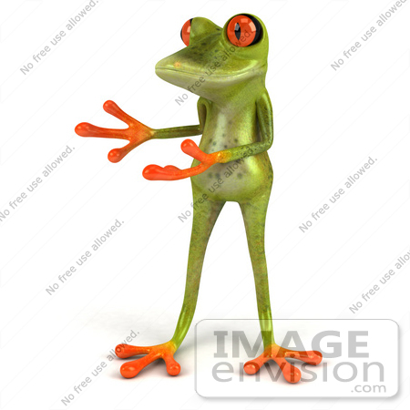 #49536 Royalty-Free (RF) Illustration Of A 3d Red Eyed Tree Frog Presenting by Julos