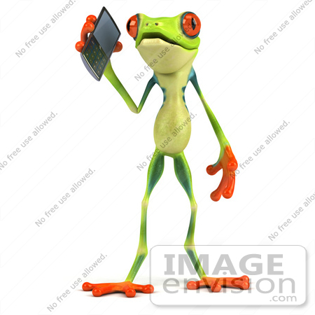 #49538 Royalty-Free (RF) Illustration Of A 3d Green Tree Frog Character Using A Cell Phone - Version 1 by Julos