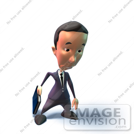#49544 Royalty-Free (RF) Illustration Of A 3d Businessman Mascot Pouting - Version 5 by Julos