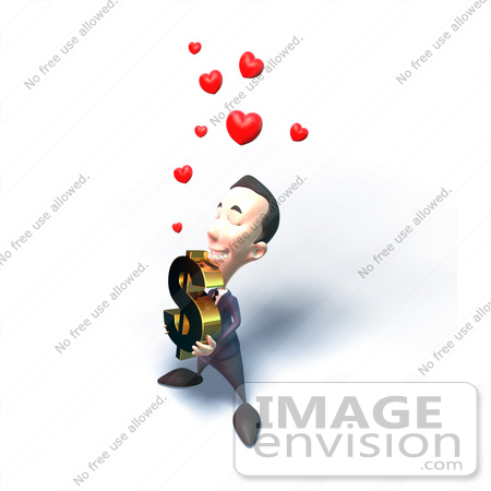 #49550 Royalty-Free (RF) Illustration Of An Amorous 3d Businessman Mascot Carrying A Dollar Symbol - Version 4 by Julos