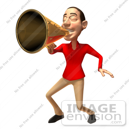 #49562 Royalty-Free (RF) Illustration Of A 3d White Man Using A Megaphone - Version 3 by Julos