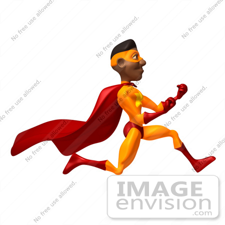 #49614 Royalty-Free (RF) Illustration Of A 3d Black Superhero Runing And Clenching His Fists - Version 2 by Julos