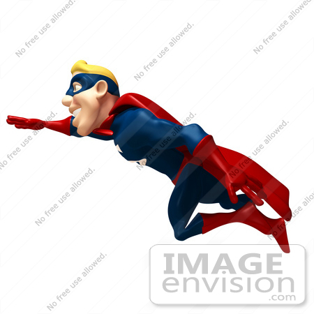 #49632 Royalty-Free (RF) Illustration Of A 3d Superman Flying - Version 2 by Julos