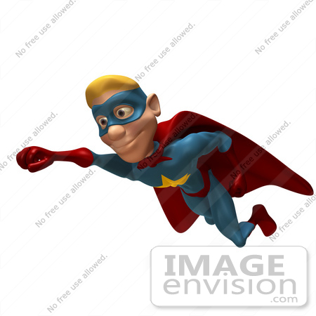 #49634 Royalty-Free (RF) Illustration Of A 3d Male Star Superhero Mascot Flying - Version 1 by Julos