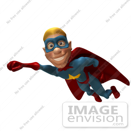 #49635 Royalty-Free (RF) Illustration Of A 3d Male Star Superhero Mascot Flying - Version 2 by Julos