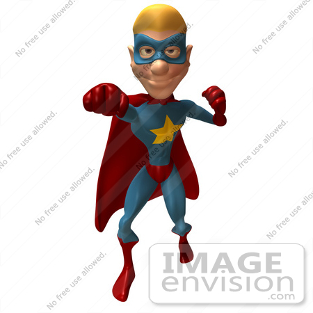#49636 Royalty-Free (RF) Illustration Of A 3d Superman Punching - Version 1 by Julos