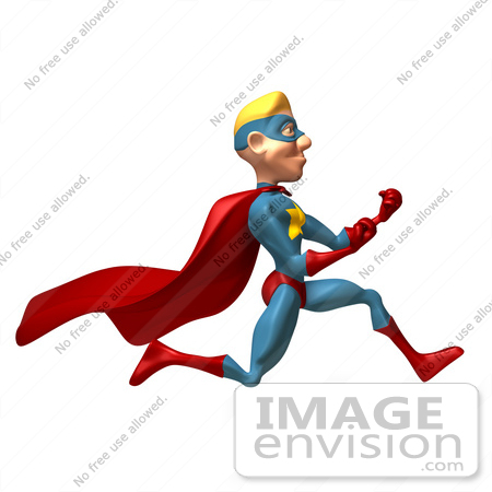 #49640 Royalty-Free (RF) Illustration Of A 3d Superman Running With Fists Clenched by Julos