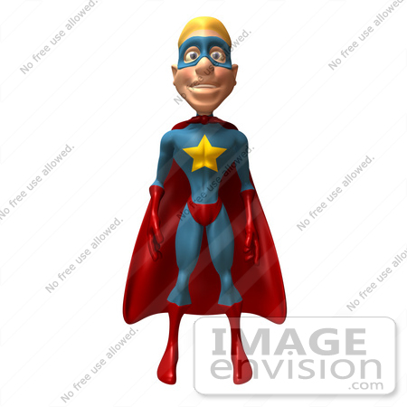 #49642 Royalty-Free (RF) Illustration Of A 3d Superman Standing And Facing Front by Julos