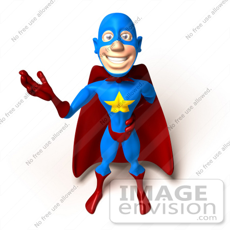 #49650 Royalty-Free (RF) Illustration Of A 3d Masked Superhero Waving - Version 2 by Julos