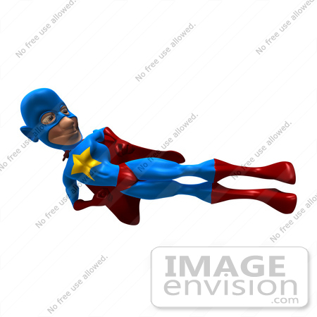 #49652 Royalty-Free (RF) Illustration Of A 3d Masked Superhero Doing A Flying Side Kick by Julos
