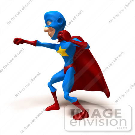 #49653 Royalty-Free (RF) Illustration Of A 3d Masked Superhero Punching - Version 3 by Julos
