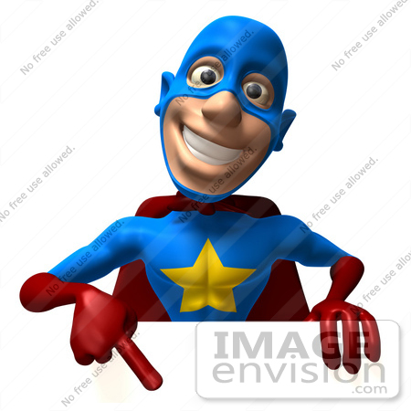 #49656 Royalty-Free (RF) Illustration Of A 3d Masked Superhero Pointing Down At A Blank Sign by Julos