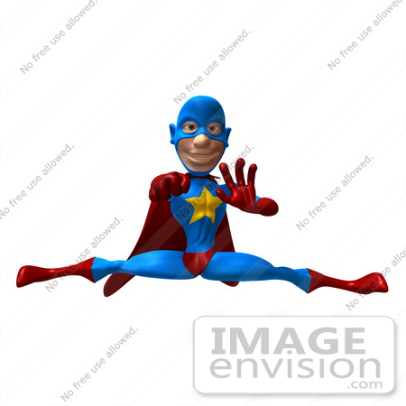 #49658 Royalty-Free (RF) Illustration Of A 3d Masked Superhero Punching And Doing The Splits by Julos