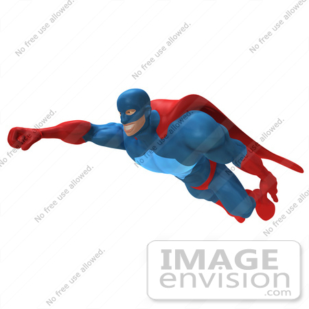 #49661 Royalty-Free (RF) Illustration Of A 3d Powerful Superhero Flying - Version 4 by Julos