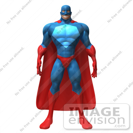 #49664 Royalty-Free (RF) Illustration Of A 3d Powerful Superhero Standing And Facing Front - Version 1 by Julos