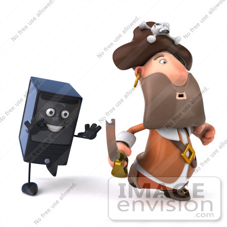 #49673 Royalty-Free (RF) Illustration Of A 3d Computer Tower Character Chasing A Pirate by Julos