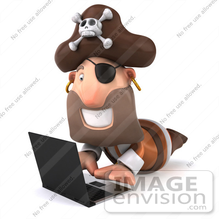 #49676 Royalty-Free (RF) Illustration Of A 3d Pirate Using  A Laptop - Pose 2 by Julos