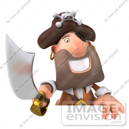 #49680 Royalty-Free (RF) Illustration Of A 3d Pirate Holding His Sword Over A Blank Sign by Julos
