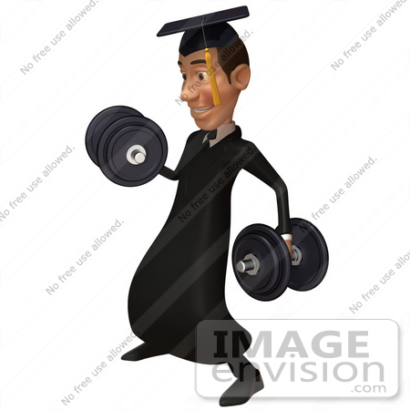 #49691 Royalty-Free (RF) Illustration Of A 3d College Graduate Weight Lifting - Version 2 by Julos