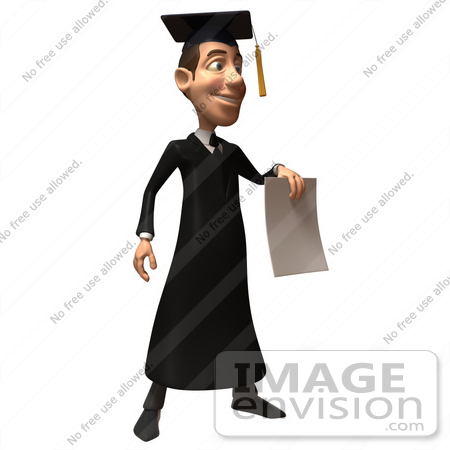#49693 Royalty-Free (RF) Illustration Of A 3d College Graduate Holding A Blank Diploma - Version 2 by Julos