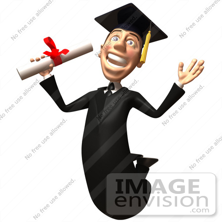 #49698 Royalty-Free (RF) Illustration Of A 3d College Graduate Jumping With A Rolled Diploma - Version 1 by Julos