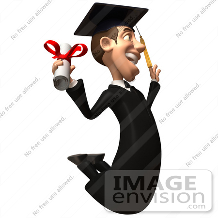 #49702 Royalty-Free (RF) Illustration Of A 3d College Graduate Jumping With A Rolled Diploma - Version 3 by Julos