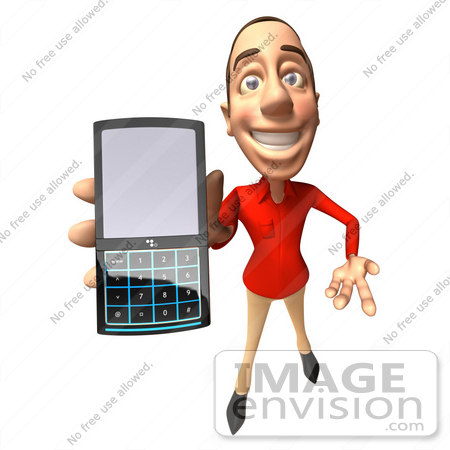 #49715 Royalty-Free (RF) Illustration of a 3d White Man Using A Cell Phone - Version 4 by Julos