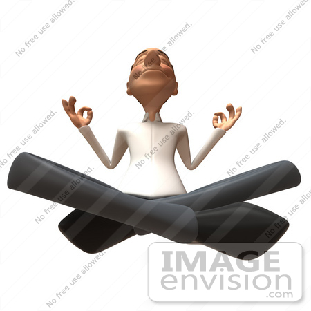 #49717 Royalty-Free (RF) Illustration Of A 3d Young White Man Meditating - Version 4 by Julos