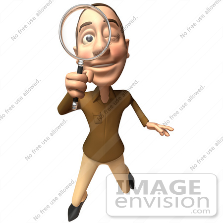 #49735 Royalty-Free (RF) Illustration Of A 3d White Man Using A Magnifying Glass - Version 3 by Julos