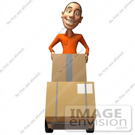 #49738 Royalty-Free (RF) Illustration Of A 3d White Man Moving Boxes On A Dolly - Version 1 by Julos