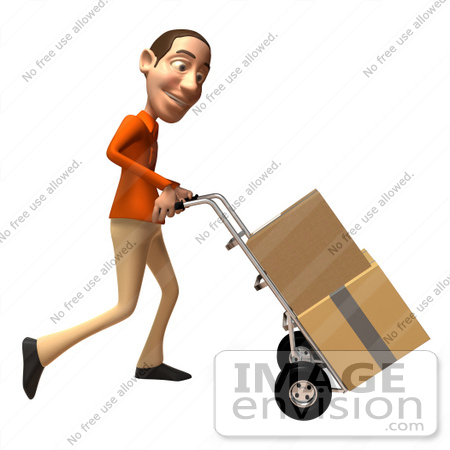#49739 Royalty-Free (RF) Illustration Of A 3d White Man Moving Boxes On A Dolly - Version 3 by Julos
