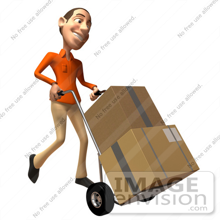 #49741 Royalty-Free (RF) Illustration Of A 3d White Man Moving Boxes On A Dolly - Version 2 by Julos