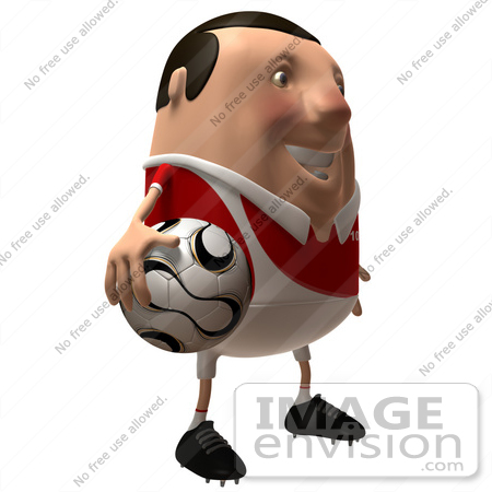 #49757 Royalty-Free (RF) Illustration Of A 3d Chubby Soccer Player Holding A Ball - Version 2 by Julos