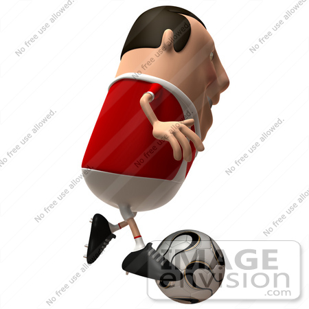 #49761 Royalty-Free (RF) Illustration Of A 3d Chubby Soccer Player Running And Kicking A Ball by Julos