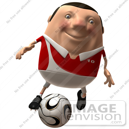#49762 Royalty-Free (RF) Illustration Of A 3d Chubby Soccer Player Kicking A Ball - Version 1 by Julos