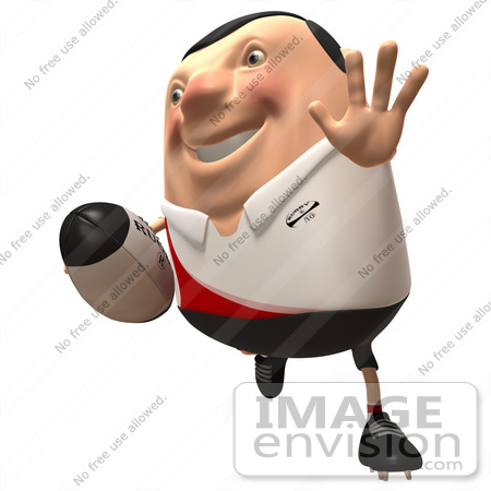 #49767 Royalty-Free (RF) Illustration Of A 3d Chubby Rugby Mascot Running - Version 2 by Julos