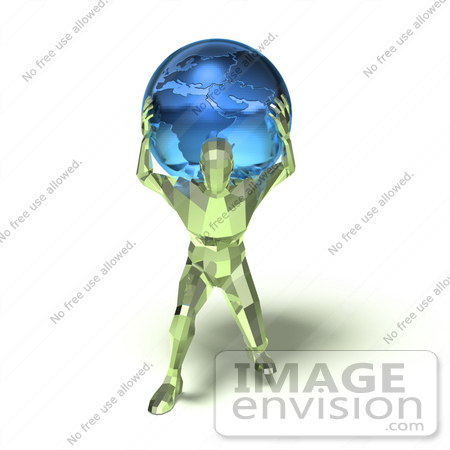 #49824 Royalty-Free (RF) Illustration Of A 3d Green Crystal Man Carrying A Globe - Version 1 by Julos