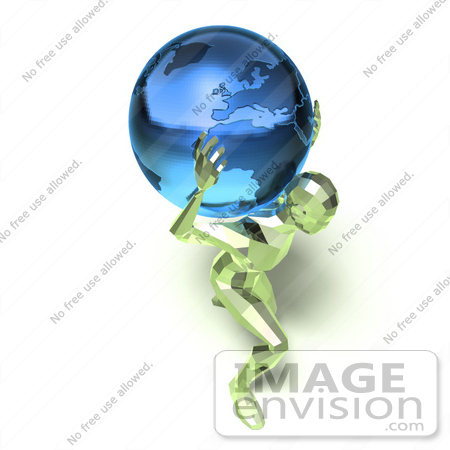 #49826 Royalty-Free (RF) Illustration Of A 3d Green Crystal Man Carrying A Globe - Version 4 by Julos