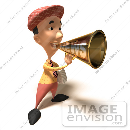 #49845 Royalty-Free (RF) Illustration Of A 3d News Boy Announcing News Through A Megaphone - Version 5 by Julos