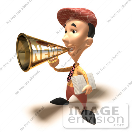 #49848 Royalty-Free (RF) Illustration Of A 3d News Boy Announcing News Through A Megaphone - Version 6 by Julos