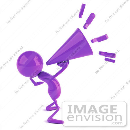 #49867 Royalty-Free (RF) Illustration Of A 3d Purple Man Mascot Yelling Through A Megaphone by Julos