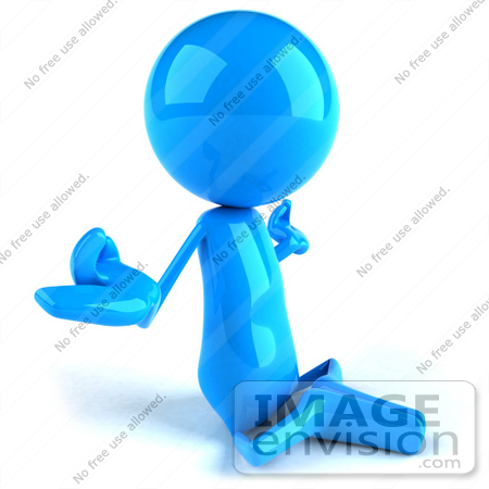 #49869 Royalty-Free (RF) Illustration Of A 3d Blue Guy Mascot Meditating - Pose 2 by Julos
