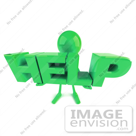 #49874 Royalty-Free (RF) Illustration Of A 3d Green Man Mascot Holding HELP by Julos