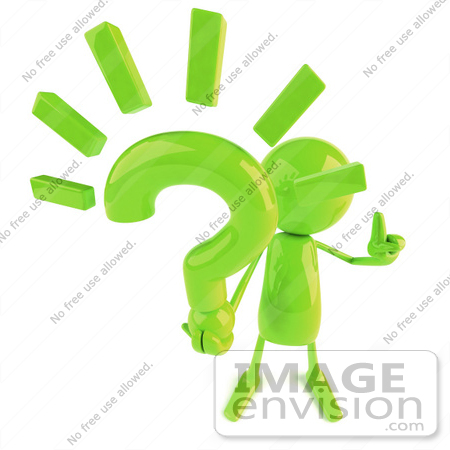 #49875 Royalty-Free (RF) Illustration Of A 3d Green Man Mascot Holding A Question Mark by Julos