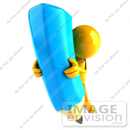 #49876 Royalty-Free (RF) Illustration Of A 3d Orange Man Mascot With A Giant Blue Pencil - Version 4 by Julos