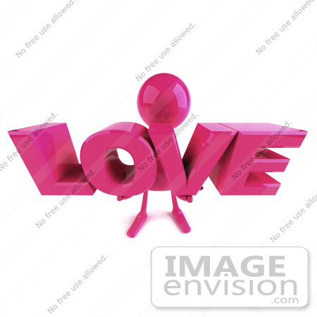 #49878 Royalty-Free (RF) Illustration of a 3d Pink Man Mascot Holding LOVE by Julos